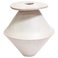 Giant Diamond Contemporary Ceramic Vase in Cream