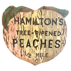 Giant Double Sided Wood Peach Trade Sign from California Farm