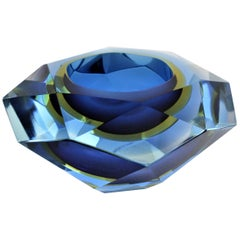 Giant Flavio Poli Blue Yellow and Clear Diamond Shaped Faceted Murano Glass Bowl