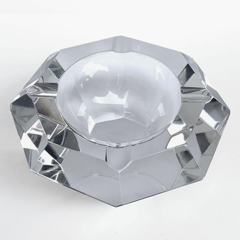 Giant Flavio Poli Bowl in Faceted Murano Glass in the Shape of a Diamond, Italy For Sale 2