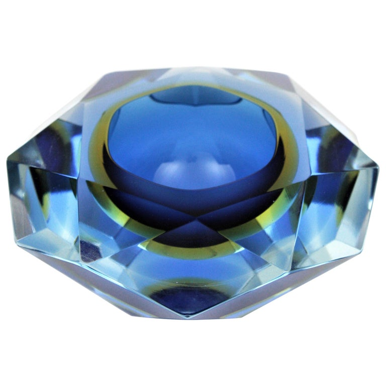 Flavio Poli Murano Cobalt Blue and Yellow Sommerso Faceted Giant Art Glass Bowl For Sale