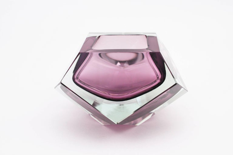 Giant Flavio Poli Purple & Clear Faceted Sommerso Murano Glass Bowl, Italy 1950s For Sale 2