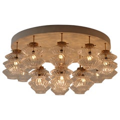 Giant Flush mount Chandelier with 19 Structured Glass Shades, Praque 1970s