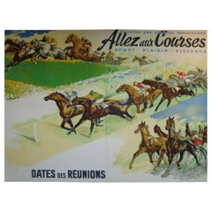 Giant French Horse Racing Poster Mural by Jacquot, circa 1930s