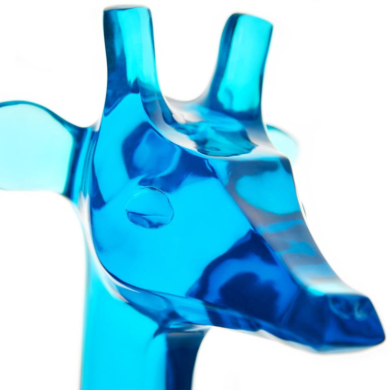 Modern Giant Giraffe Sculpture in Turquoise Lucite For Sale
