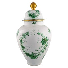 Giant Herend Chinese Bouquet Lidded Porcelain Vase, Mid-20th C
