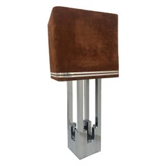 Giant Midcentury Metal Table Lamp by Willy Rizzo for Lumica, 1970s