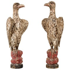 Giant Pair of Polychromed Eagles Sculptures