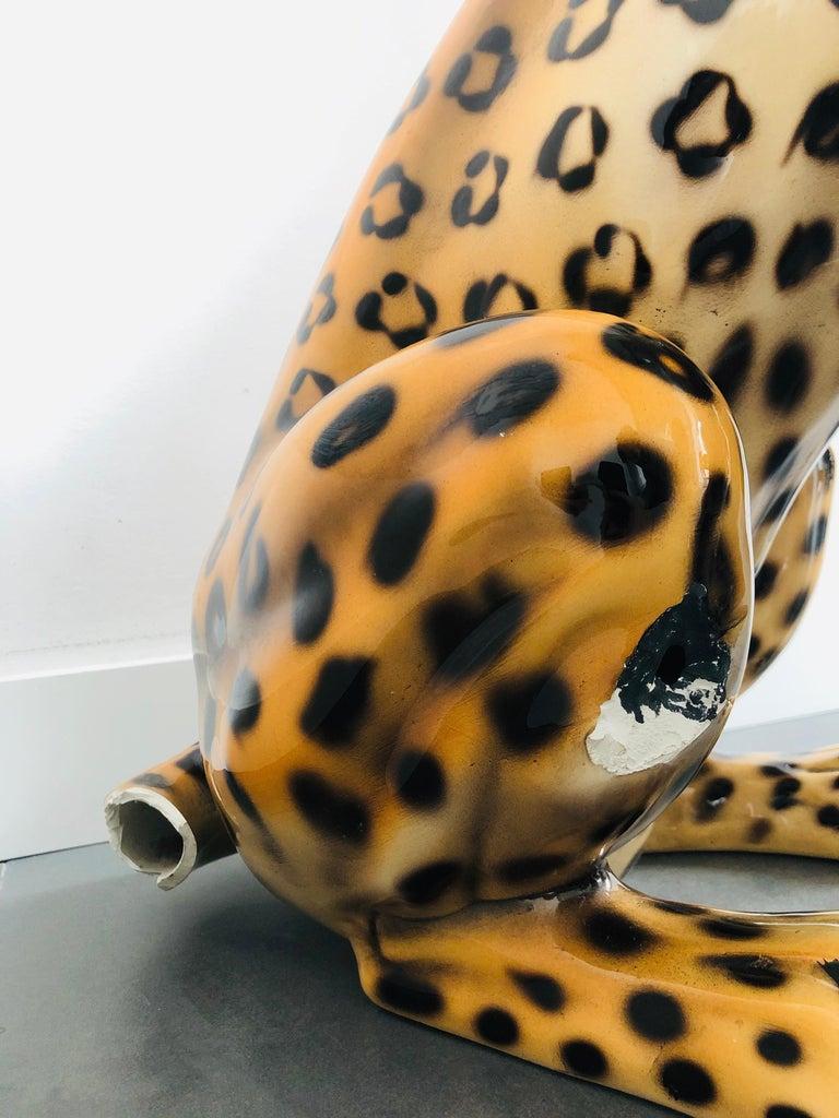 Giant Rare Ceramic Leopard Decorative Sculpture, Italy, 1960s For Sale 4
