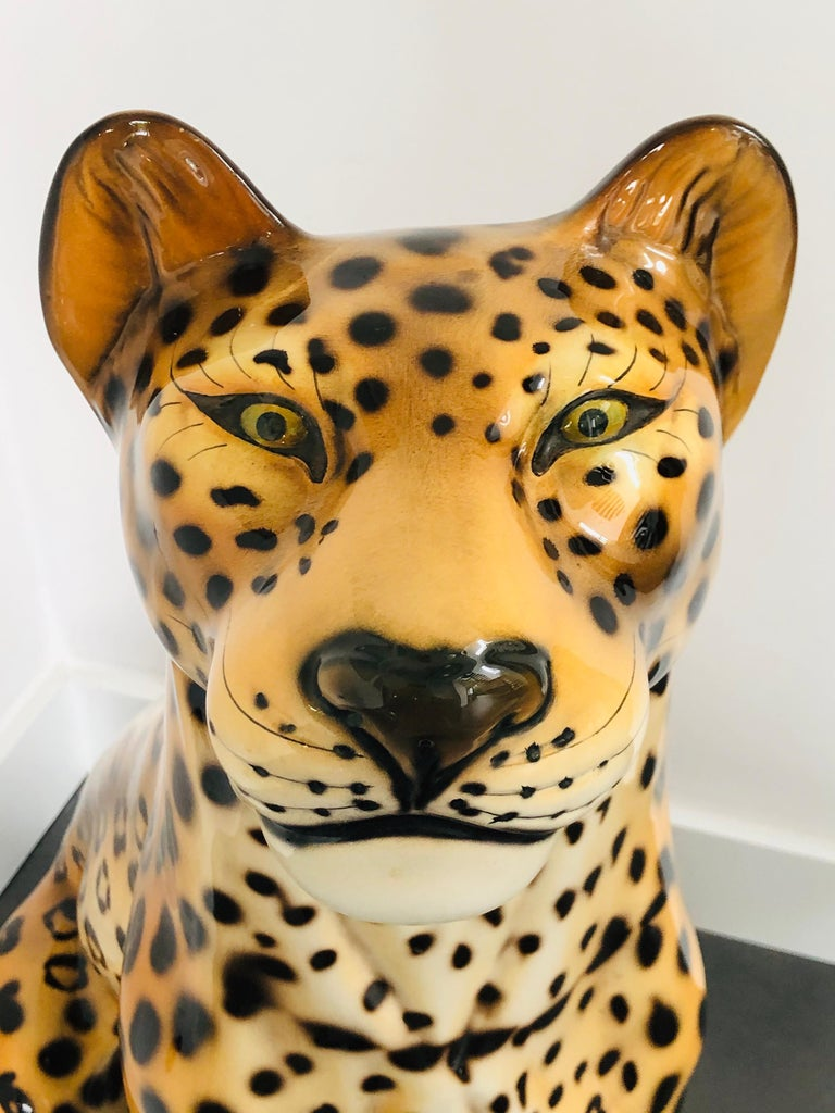 Italian Giant Rare Ceramic Leopard Decorative Sculpture, Italy, 1960s For Sale