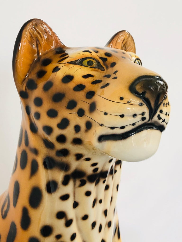 Giant Rare Ceramic Leopard Decorative Sculpture, Italy, 1960s In Good Condition For Sale In 05-080 Hornowek, PL