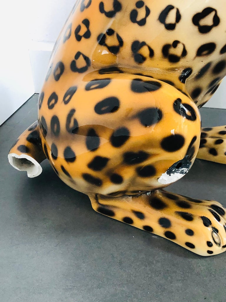Giant Rare Ceramic Leopard Decorative Sculpture, Italy, 1960s For Sale 1