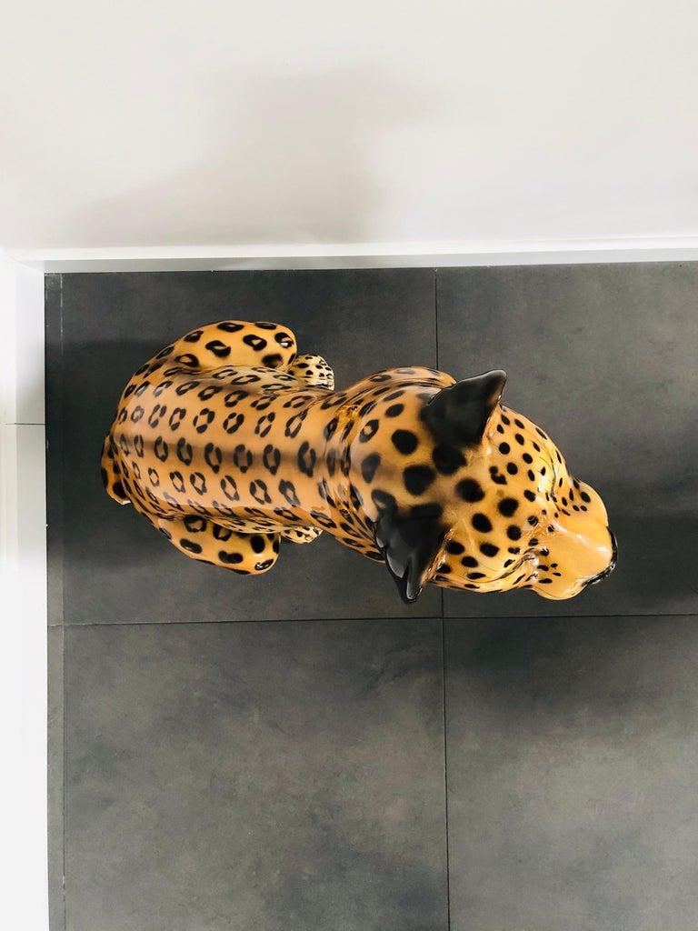 Giant Rare Ceramic Leopard Decorative Sculpture, Italy, 1960s For Sale 2