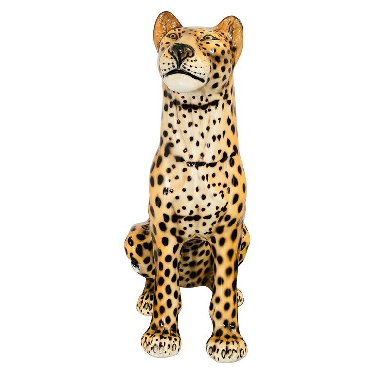Giant Rare Ceramic Leopard Decorative Sculpture, Italy, 1960s For Sale