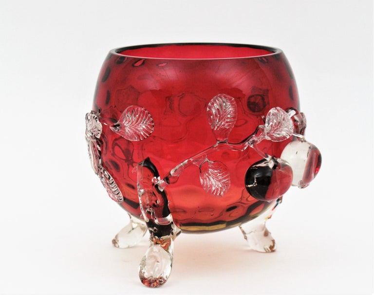 Spectacular Victorian hand blown Amberina glass coin dot pattern footed bowl centerpiece / vase with applied cherry decorations. Optic coin dot pattern thorough all the surface. Applied clear glass cherry and leaves motifs. Gorgeous placed as a