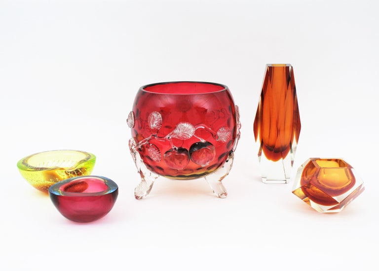 English Giant Size Victorian Cherry Motif Amberina Glass Footed Bowl Vase / Centerpiece