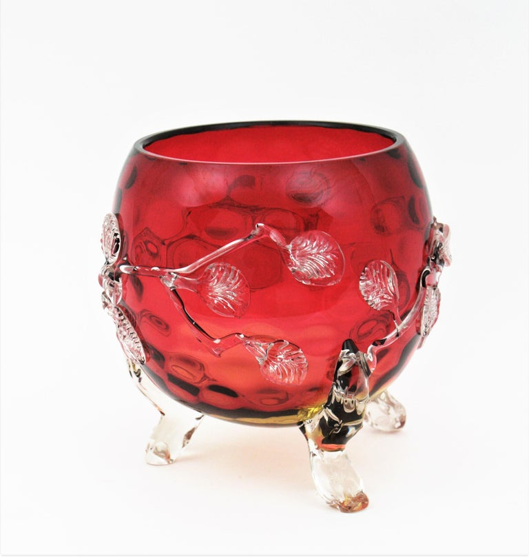 Giant Size Victorian Cherry Motif Amberina Glass Footed Bowl Vase / Centerpiece 4