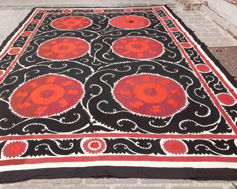 Embroidered Giant Suzani from Samarkand, Uzbekistan, 1960s For Sale
