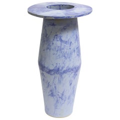 Giant Tall Saucer Contemporary Ceramic Vase in Matte Blue