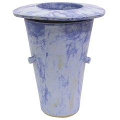 Giant Wide Saucer Contemporary Ceramic Vase in Matte Blue
