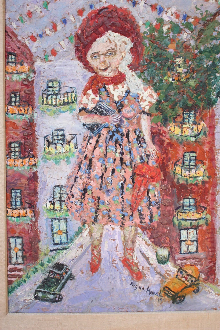 Exceptional encaustic painting by Russian-born artist, Rifka Angel (1899-1988) depicting a giant, old woman towering over New York City (likely Angel in her old age - she lived in New York and Chicago on and off since the age of 15 when she