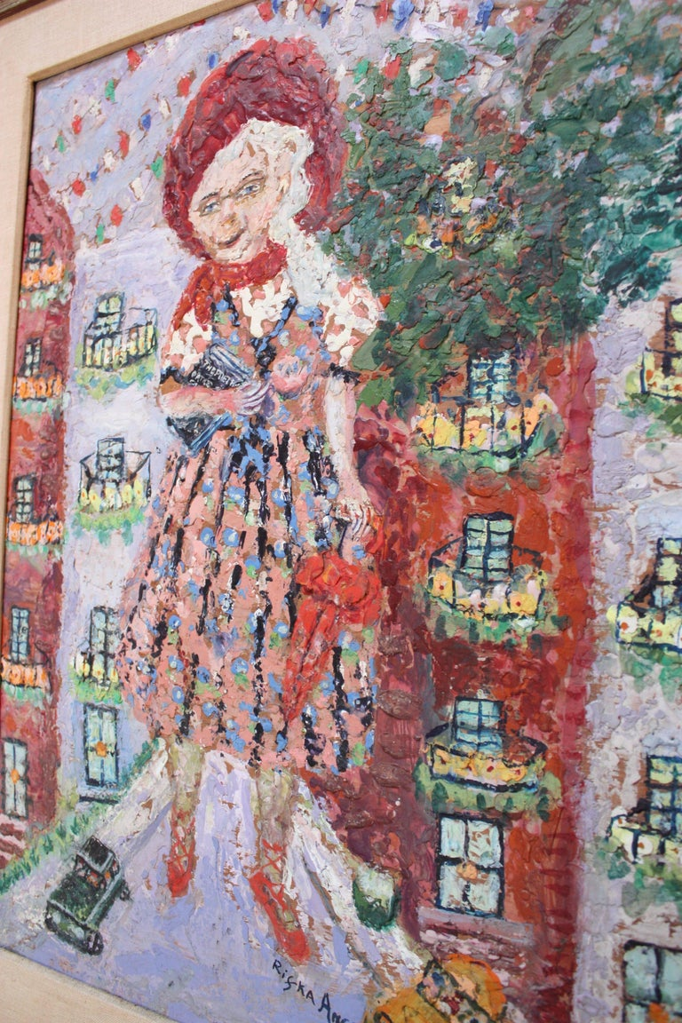Mid-Century Modern 'Giant Woman' Encaustic Painting by Rifka Angel, 1971 For Sale