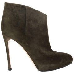 GIANVITO ROSSI Army green suede STILETTO PLATFORM Ankle Boots Shoes 38