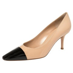 Gianvito Rossi Beige/Black Patent Leather Lucy Pointed Toe Pumps Size 38