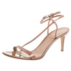 Gianvito Rossi Beige Patent Leather Ankle Strap Sandals Size 41