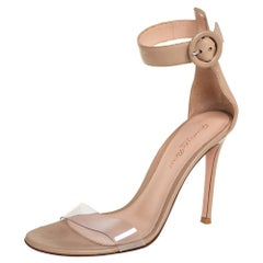 Gianvito Rossi Beige PVC And Leather Ankle Strap Sandals Size 36.5