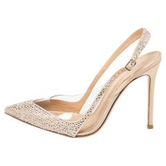 Gianvito Rossi Beige PVC And Leather Embellished Slingback Sandals Size 39