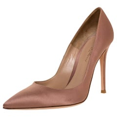 Gianvito Rossi Beige Satin Pointed Toe Pumps Size 39.5