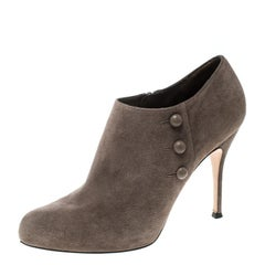 Gianvito Rossi Beige Suede Button Detail Booties Size 39