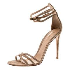 Gianvito Rossi Beige Suede Strappy Open Toe Sandals Size 41