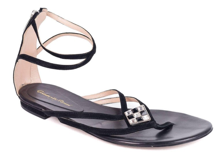 f1e74efc30646d Gianvito Rossi Black Jeweled Sueded Strap Flat Thong Sandals For ...