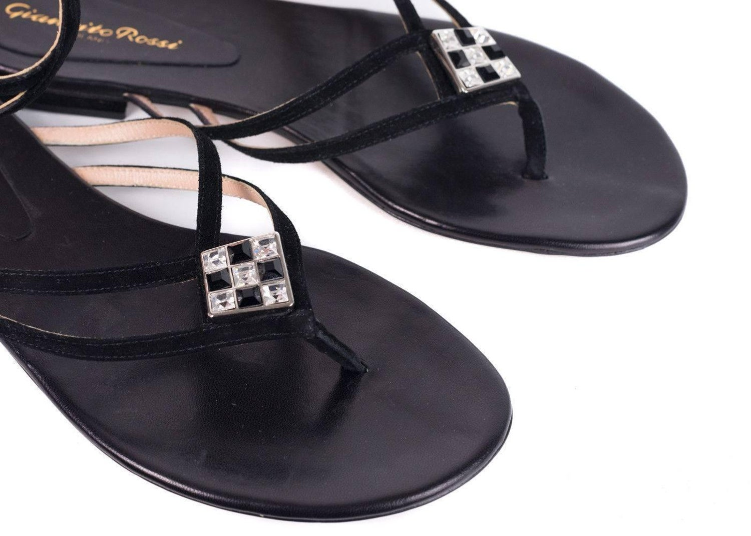 f345926b8b331d Gianvito Rossi Black Jeweled Sueded Strap Flat Thong Sandals For Sale at  1stdibs