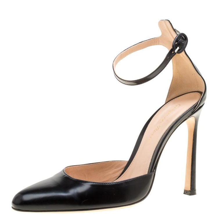 d386f982002 Gianvito Rossi Black Leather Ankle Strap D orsay Pumps Size 37 For Sale