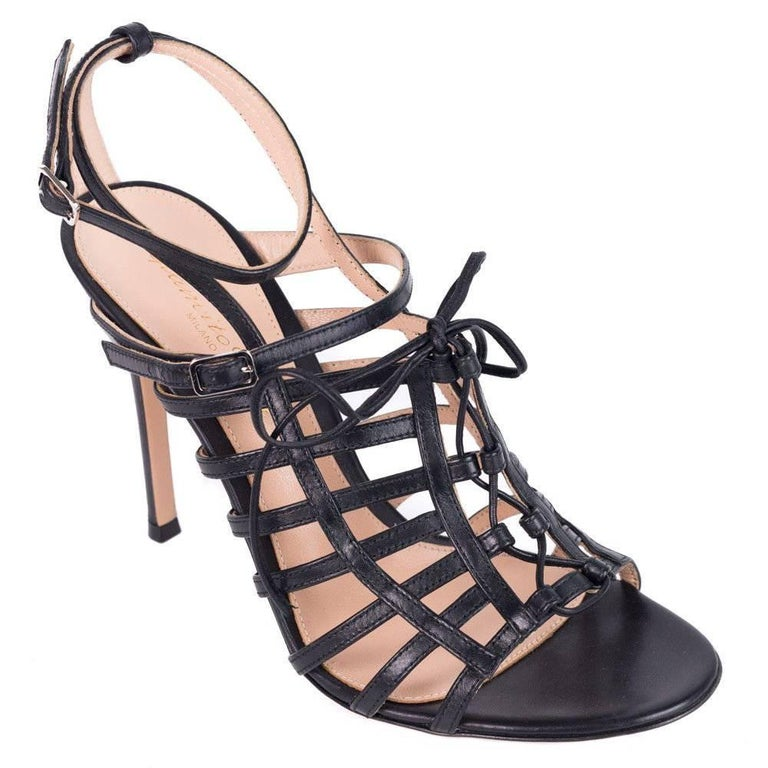Gianvito Rossi Black Leather Caged Lace Up Stiletto Sandals