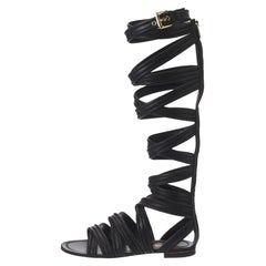 Gianvito Rossi Black Leather Gladiator Knee Length Flat Sandals Size 35