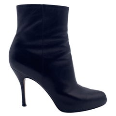 Gianvito Rossi Black Leather Heeled Ankle Boots Shoes Size 38