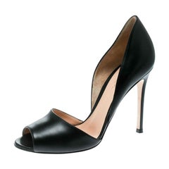 Gianvito Rossi Black Leather Peep Toe D'orsay Pumps Size 37.5