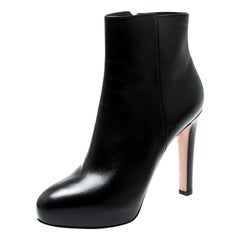 Gianvito Rossi Black Leather Platform Ankle Boots Size 39.5