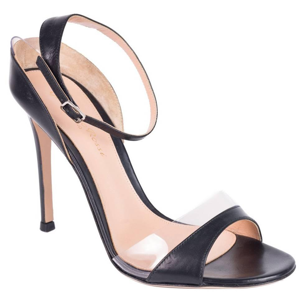 Gianvito Rossi Black Leather PVC Trim Ankle Strap Heel Sandals For Sale