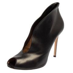Gianvito Rossi Black Leather Vamp Peep Toe Slip On Booties Size 41