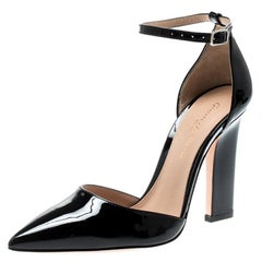 Gianvito Rossi Black Patent Leather Ankle Strap D'orsay Pumps Size 35