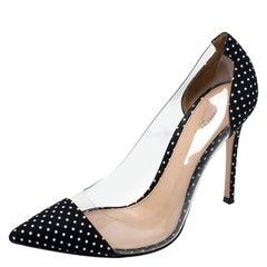 Gianvito Rossi Black Polka Dot Satin And PVC Plexi Pointed Toe Pumps Size 38.5