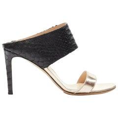 GIANVITO ROSSI black python metallic copper strap open toe mule heel EU37