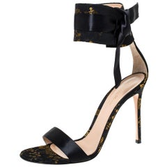 Gianvito Rossi Black Satin Ankle Wrap Sandals Size 42