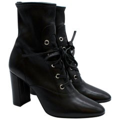Gianvito Rossi Black Stretch Leather Lace-up Ankle Boots 36