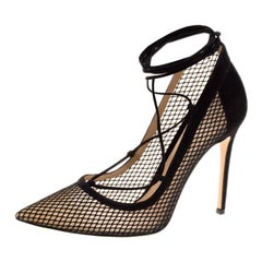 Gianvito Rossi Black Suede And Mesh Lace Up Pointed Toe Pumps Size 38.5
